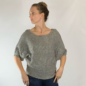 Free People Grey Batwing Cable Knit Sweater Large